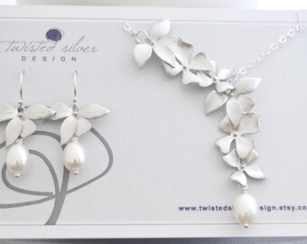 Discounted Wild Orchid Necklace and Earrings Matching Set, White Freshwater Pearl, Sterling Silver Chain, Wedding Jewelry Set