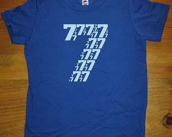 Birthday Shirt - 7 year old shirt - 7th Birthday - Number Shirt - Birthday Boy, Birthday Girl - Party - Kids Tshirt Size 8 - Gift Friendly