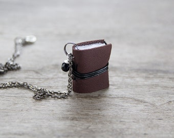 Miniature book necklace, mini book jewelry, book pendant, literature jewelry eco friendly necklace journal - brown