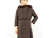Vintage Brocade winter coat / Mink collar / Lattice weave brocade S M