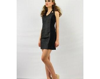 Vintage leather dress / 80's bodycon dress / Black leather and spandex cage halter mini dress M L
