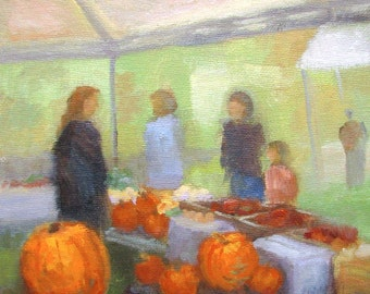 Fall Harvest Market - original plein air painting by Keiko Richter 8x10