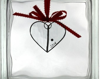 Small Clear Stained Glass Heart Christmas Ornament Suncatcher I Love You Special Gift