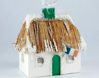 Christmas Village Glitter House Putz  Ornament  -  St. Patricks Day Thatched Roof Irish Cottage
