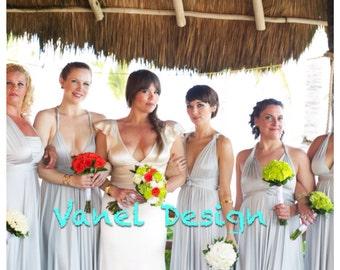 Convertible, Infinity, Wrap Bridesmaid Dress- Party Dress, Formal Dress, Summer Dress, Silver Grey Dress
