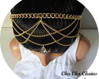 Chain Headpiece Hair Jewelry Head Chain Headpiece Head Jewelery Headchain Hair Accessory Bridal Headpiece Boho Wedding - Cha Cha Chains Gold