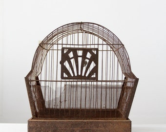 antique bird cage, metal birdcage, Crown birdcage