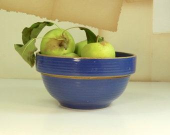 "Vintage 7"" Blue Stoneware Bowl Home Decorative Fruit Table Display Kitchenware"