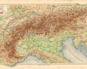 1908 Original Antique Relief Map of the Alps