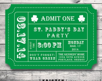Saint Patrick's Day Party Ticket Invitation-Admission Ticket Stub- St. Paddy Print Order Deposit of Digital File for DIY Printing