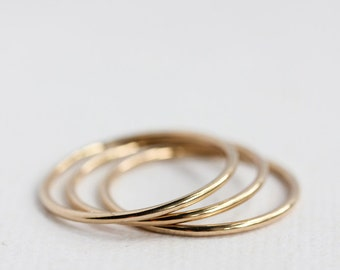 Solid 14k gold thin stacking rings, recycled, eco friendly, round smooth shiny gold rings, gifts for her