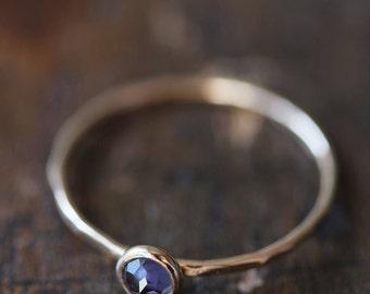 Blue iolite 14k gold stacking ring, rose cut, thin stacking ring, blue, indigo, delicate gold ring, solid gold ring, thin gold band