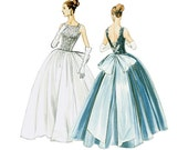 Evening Dress Pattern Vogue V8729 Vintage 1950s Uncut Full Skirt Wedding Bridal Formal Gown Bustle Bow Fit and Flare Womens Sewing Patterns