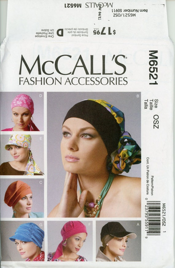 Turban Head Wrap Hats Caps Sewing Pattern Uncut Mccalls M6521
