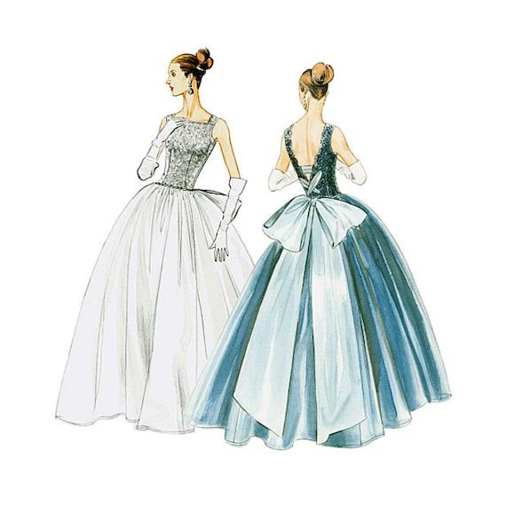 Evening Dress Pattern Vogue V8729 Vintage 1950s Uncut Full