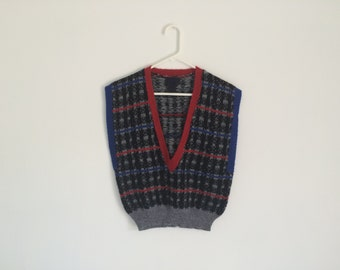 1980s Retro Plaid Hipster Sweater Vest