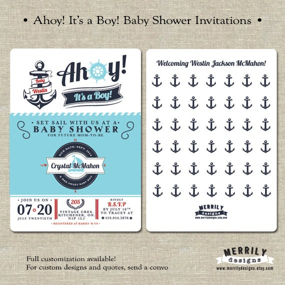 ahoy it 39 s a boy baby shower invitations nautical boat anchor