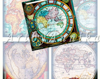 Digital Collage of  Medieval maps- 63 1x1 Inch Square JPG images - Digital Collage Sheet