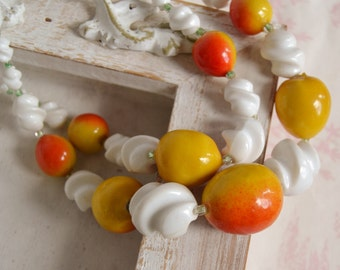 Vintage Fruit Beaded Double Strand Necklace Made in Germany