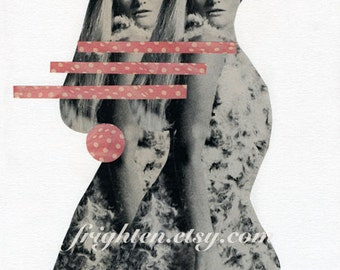 One of a Kind Retro Paper Collage, 8.5 x 11 inch White Pink and Black Twins Mod Wall Art