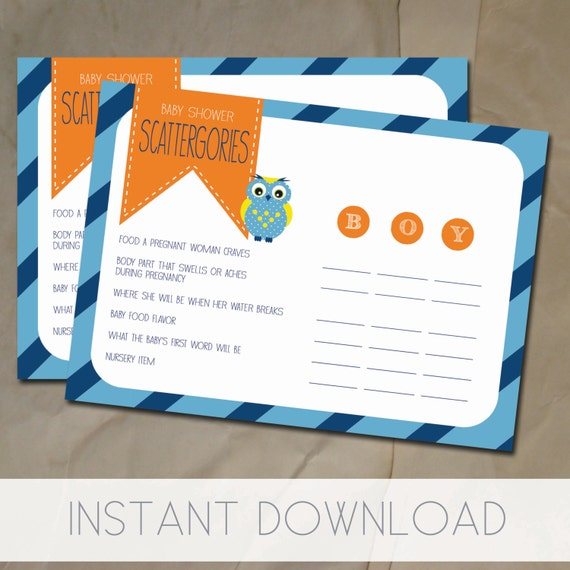 Baby Shower Games, Baby Shower Scattergories Printable, Owl Baby Boy Shower, Navy Blue And