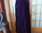 Purple red velvet reversible hooded cape wedding cape goth cape steampunk fairie cape