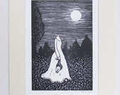 Linocut print 'Midnight'- the poor decapitated ghost
