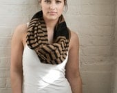 Brown and Black Infinity Scarf - Oversized Scarf - Striped Scarf - Brown Scarf