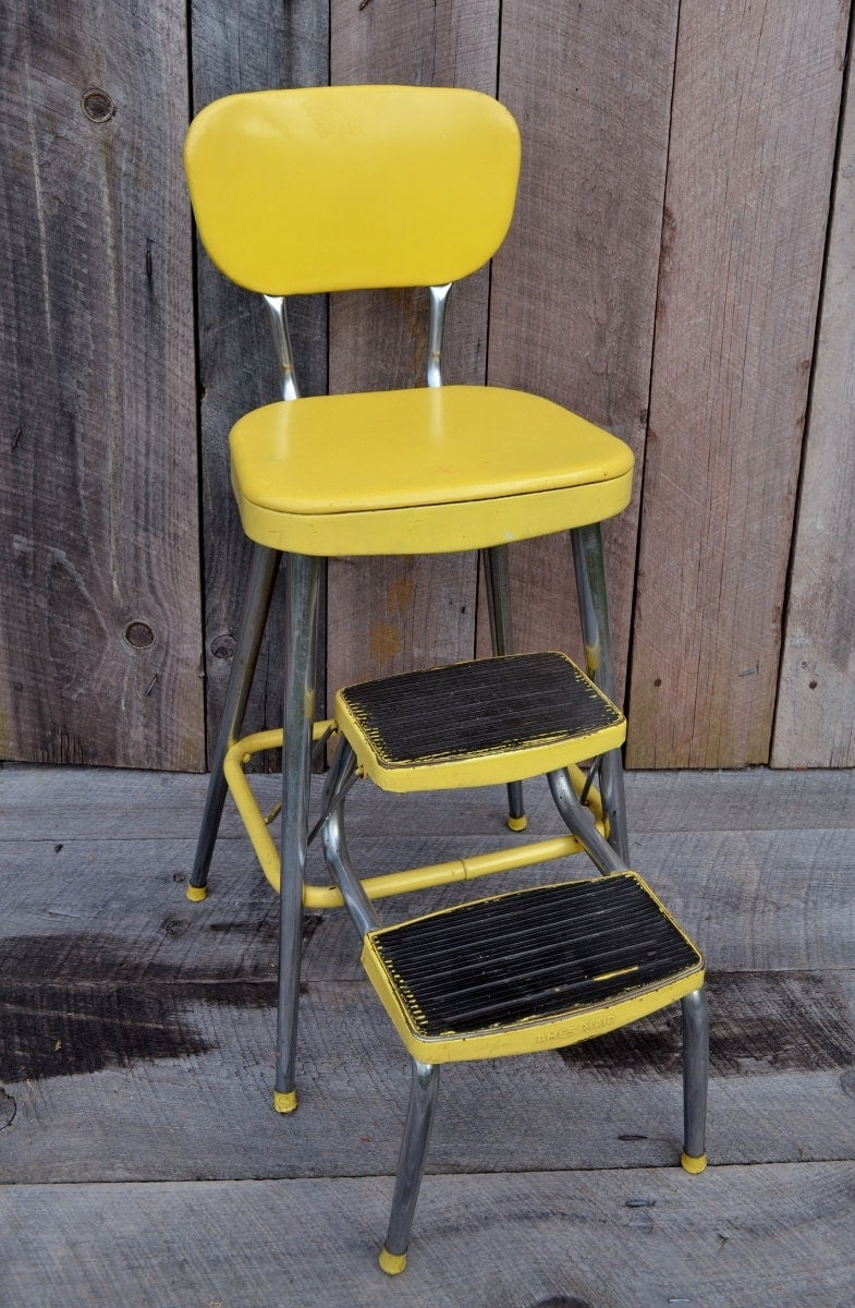 Yellow Ames Maid Step Stool Chair Vintage Kitchen Stool Fold