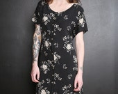 Floral Silk Button Up Dress / Black and Floral Print Dress