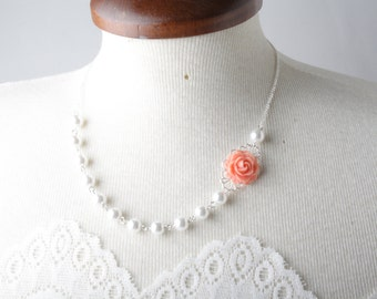 vintage style flower necklace - Coral necklace - pearl and soft coral rose necklace - rose necklace - bridesmaid necklace - coral wedding