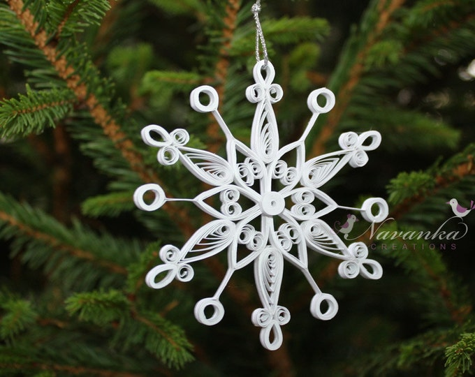 Pure White Paper Quilling Snowflake Ornament in a gift box, Paper Quilled Snowflake