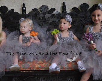 Gray flower girl dress with gray chiffon flowers. Gray tutu dress