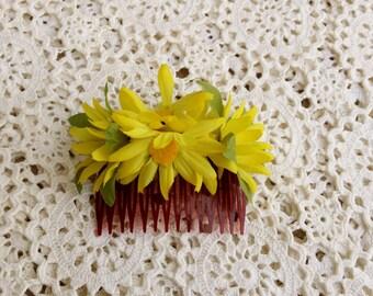 Vintage Yellow Silk Flower Daisies Hair Comb