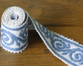 Blue and White Scroll Vintage Trim - One Yard