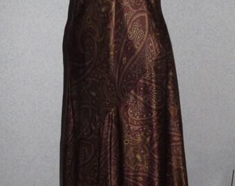 Ralph Lauren Asymmetrical Paisley Brown Silk Long Dress Size 8