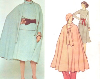 1970s Teal Traina Womens Boho Cape, Top, Skirt & Pants Vogue Sewing Pattern 1371 Size 10 Bust 32 1/2 UnCut Vogue American Designer Pattern