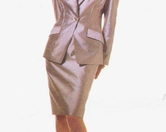 90s Badgley Mischka Womens Jacket & Dress Vogue Attitudes Sewing Pattern 1639 Size 6 8 10 Bust 30 1/2 to 32 1/2 UnCut Mother of the Bride