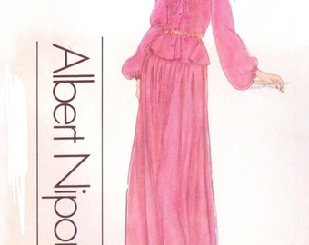 1970s Albert Nipon Womens Boho Top and Skirt Vogue Sewing Pattern 1746 Size 12 Bust 34 UnCut Two Piece Dress Vogue American Designer