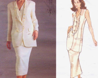 90s Donna Karan Womens Long Jacket, Fitted Vest and Slim Midi Skirt Vogue Sewing Pattern 1165 Size 12 14 16 Bust 34 36 38 UnCut
