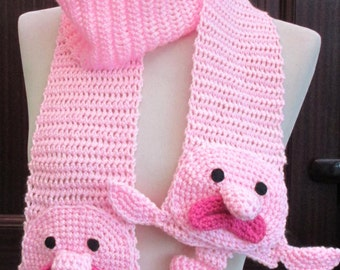 Crochet Pink Blobfish Scarf ~ Made to Order