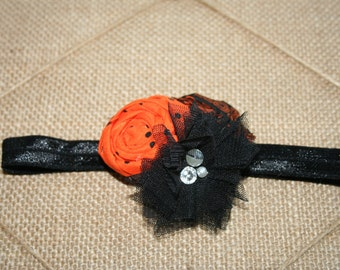Halloween Black and Orange Frayed Fabric and Tulle Rosette Headband Babies Toddlers Girls Women