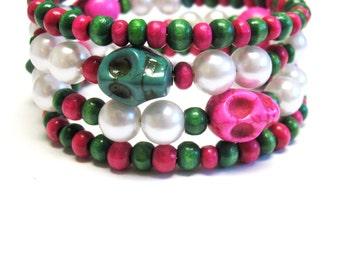 Day Of The Dead Bracelet Sugar Skull Wrap Cuff  Hot Pink Green