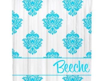 Personalized Shower Curtain Bathroom Decor Custom Classic Modern Damask Tiffany  Blue Initial Monogram Housewarming or Wedding Gift