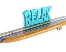 Mini Surfboard Shelf, Surf Decor with Classic Stripes