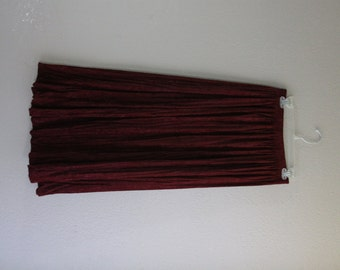 boho burgundy soft velvet like maxi skirt- fits small, medium