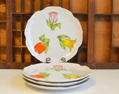 Vintage Shafford Tulip Time Salad Plate: Set of Four
