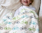 Organic Bike Toddler Blanket in Teal, Green and Gray Toddler Bedding  Bicycle Eco Friendly Children