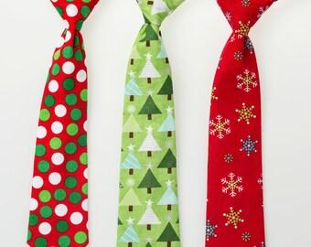 Little Boy Christmas Ties - Polka Dots or Snowflakes - Baby Christmas Necktie