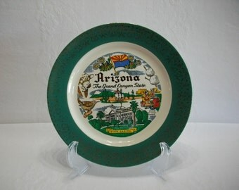 Arizona The Grand Canyon State 1956 Homer Laughlin Vintage Green and Gold Transferware Plate, State Tourist Souvenir Transferware Plate